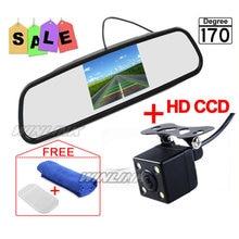 Sistema de Ayuda Al Aparcamiento de coche de 4.3 Pulgadas TFT LCD de Coches Inversa Espejo retrovisor Monitor + 4 Luces LED IR Cámara de Visión Trasera