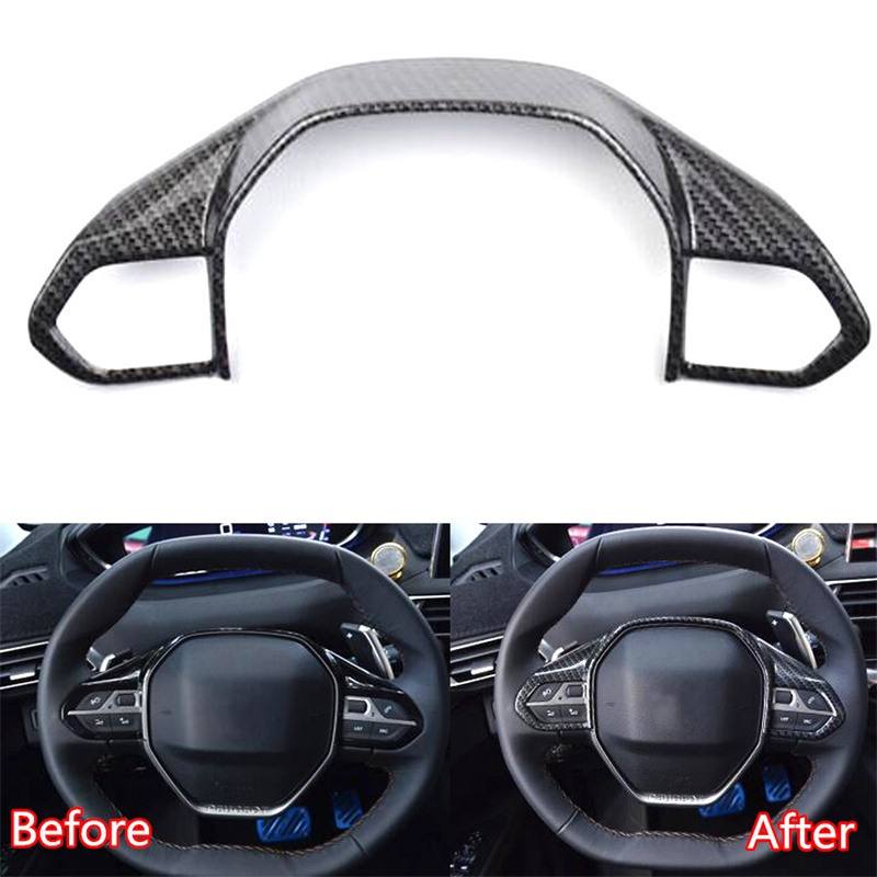 Car Styling Accessories For Peugeot 3008 GT 4008 5008 2016 2017 2018 ABS Carbon Fiber Sticker Steering Wheel Trim Frame Cover