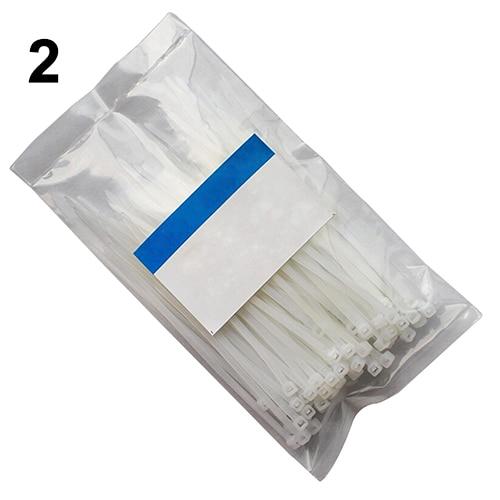 200pcs 3x100mm White Color Network Nylon Plastic Cable Wire Organiser Zip Tie Cord Strap