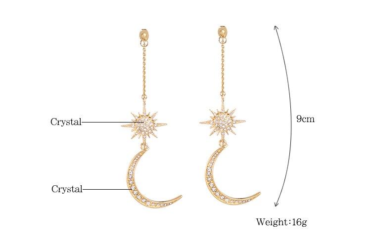 KISS ME Newest Shiny Crystal Star Moon Earrings Charming Earrings for Women  Fashion Jewelry Brincos 2