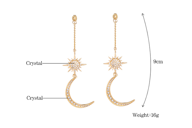 KISS ME Newest Shiny Crystal Star Moon Earrings Charming Earrings for Women 2017 Fashion Jewelry Brincos 2