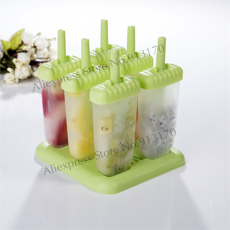 Ice Lolly Mould Ice Cream Tools Pop Mold Tray Pan Kitchen DIY Freeshipping hot sale 6 cell kitchen tools diy frozen popsicle molds tray round shape ice cream mould