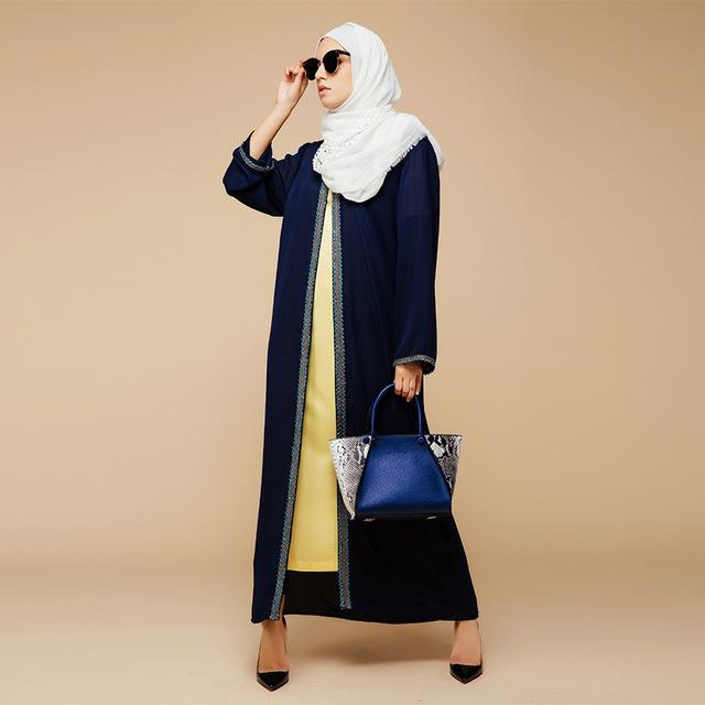 2016 Apliques Nova Outwear Garment Cardigan Turquia Oriente médio Árabe Islâmico Mulheres Muçulmanas Vestido de Moda Tamanho Grande