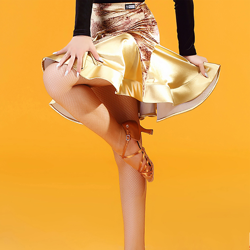 Модная танцевальная юбки для дам золото Цвет выполнять юбка молодая женщина Для женщин традиционные Бальные площадь одежды I127