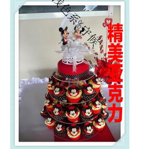 4 niveaux d'authentiques fabricants européens paquet mail acrylique gâteau dessert collations acrylique cupcake stand décoration de mariage