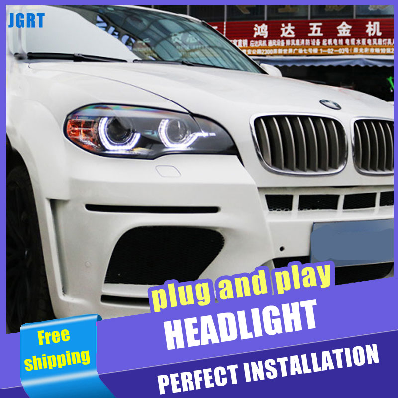 2PCS Car Style LED headlights for BMW X5 2007 2010 for X5 head lamp LED DRL