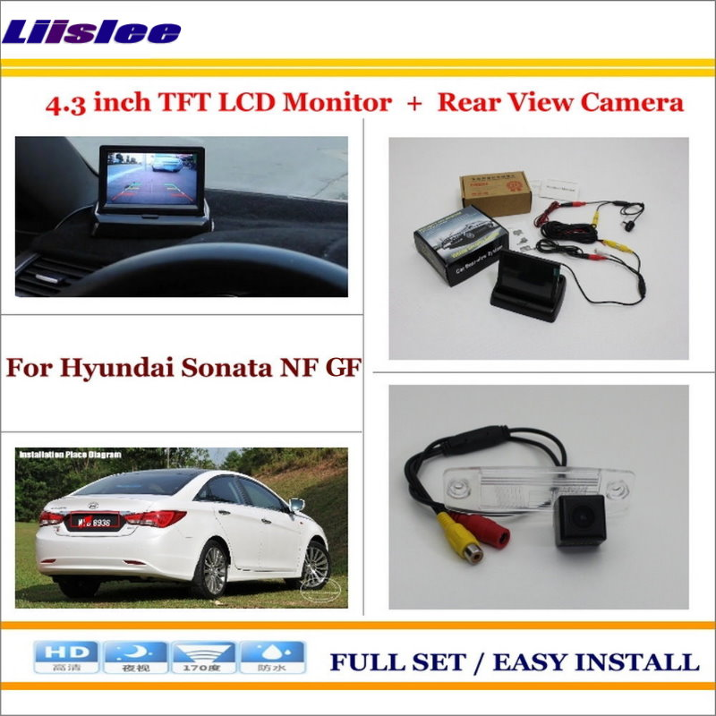 Auto Back UP Reverse Camera + 4.3″ Color LCD Monitor = 2 in 1 Rearview Parking System – For Hyundai Sonata NF GF