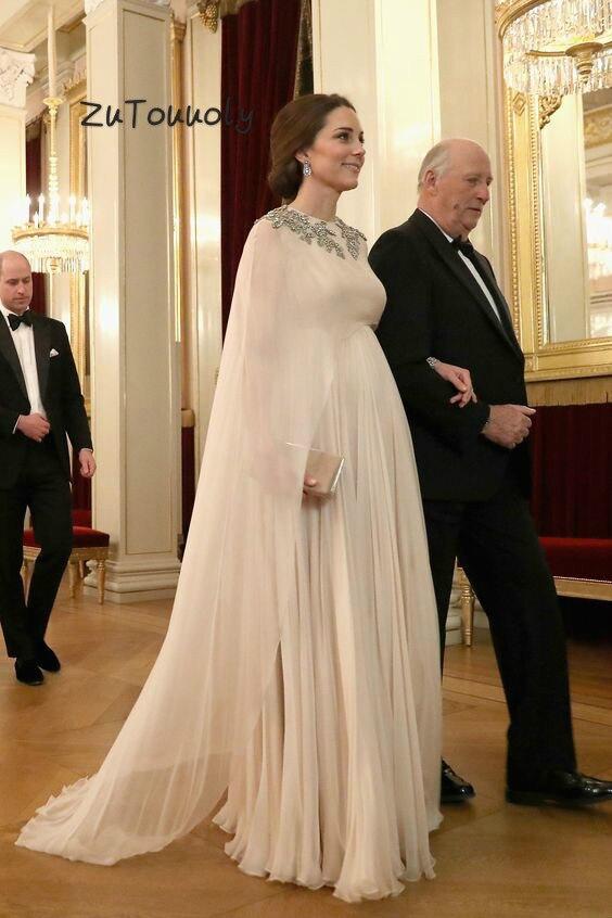 Kate Middleton Dubai   Evening     Dress   Moroccan Kaftan Chiffon Pregnant Woman Long Formal Party   Dresses   Muslim   Evening     Dresses   2019