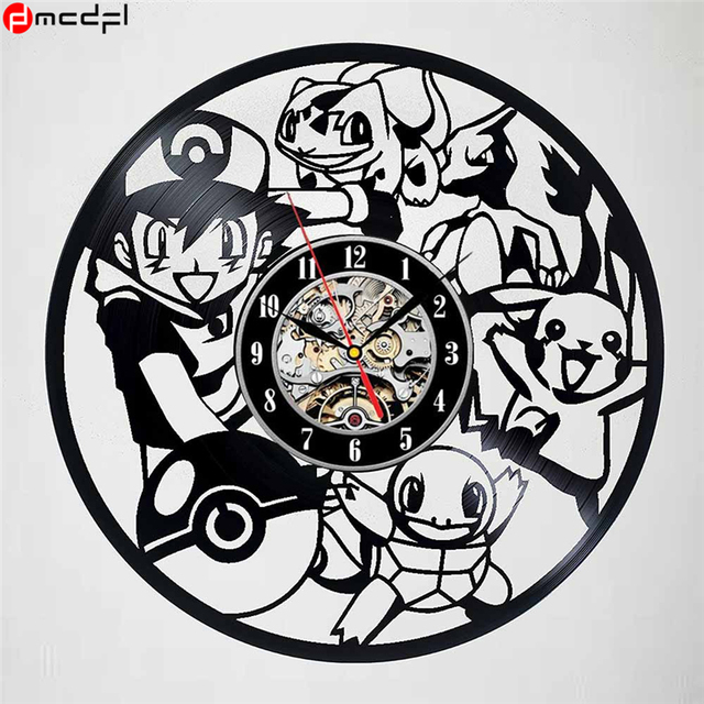 Pokemon Modern Design Vinyl Wall Clock Cartoon Pikachu Home Decoration Hanging Wall Watch Reloj De Pared