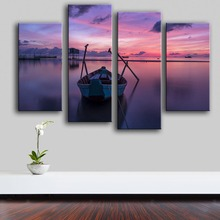 2017 Top Fashion Modern Canvas New Product Print Painting Wall 4pc/set The Boat Lake Art Picture For Living Room Free Shipping