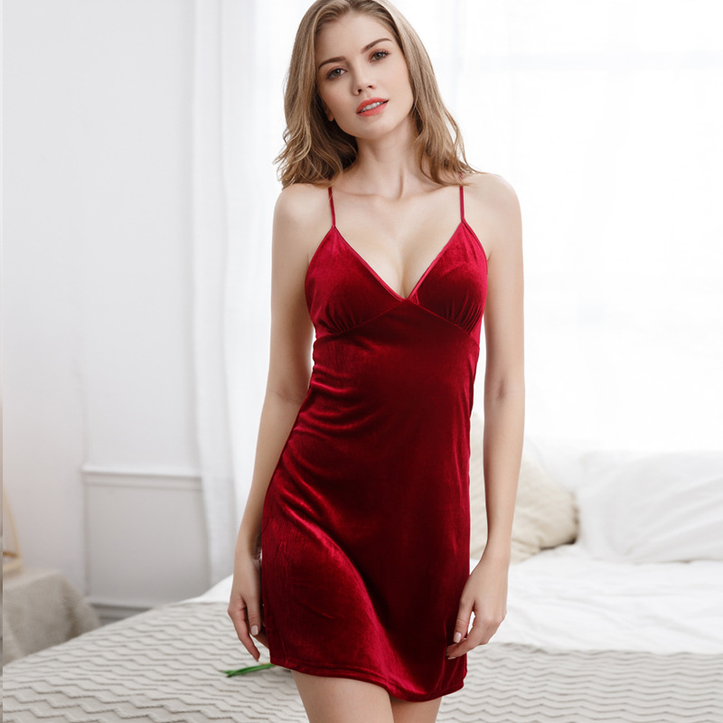 Sexy Nightdress Solid Sleepwear Casual Nightwear Velvet Home Dress Female   Sleepshirt   Lady Night Shirt Summer Mini Negligee M L