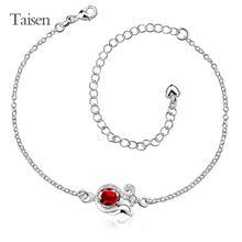 La joyería tobillera accesorios de la flor para mujer mujeres encanto de la cadena los pies 2016 nueva moda del amor del corazón de plata joyería de piedra brillante