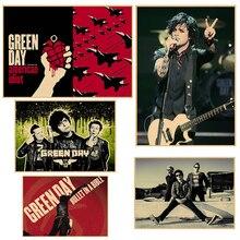 Cartel Vintage de Día Verde papel kraft retro punk rock música estrella cartel antiguo tamaño retro