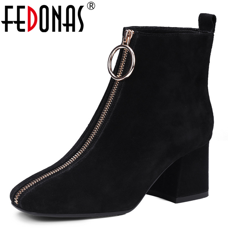 FEDONAS Fashion Women Ankle Boots Female Cow Suede Zipper Thick Heel Shoes Ladies High Heels Square Heel Office PumpsFEDONAS Fashion Women Ankle Boots Female Cow Suede Zipper Thick Heel Shoes Ladies High Heels Square Heel Office Pumps