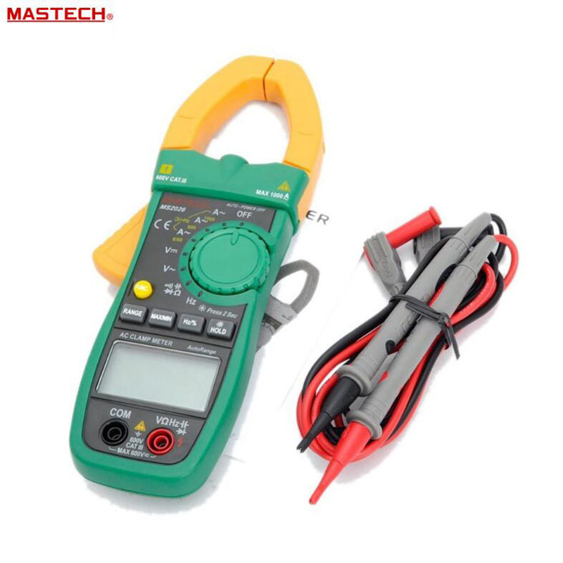 MASTECH MS2026 Digital AC Current Clamp Meter Auto Range Ammeter Voltmeter Ohmmeter w/ Capacitance & Frequency Test clip on ammeter digital clamp meter current voltage resistance test clamp meter