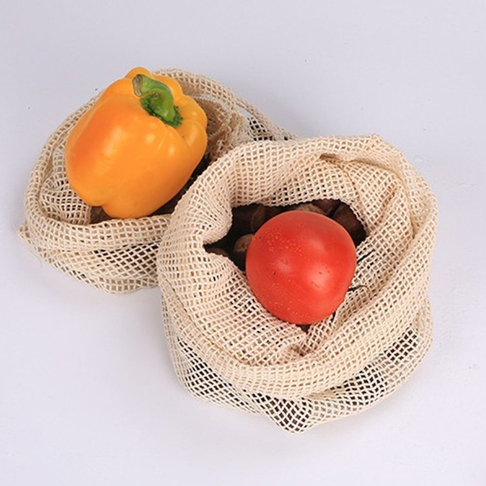 1PCS Vegetable Bags Popular Cotton Fruit And Vegetable With Drawstring Reusable Home Kitchen Storage Mesh Bags Machine Washable