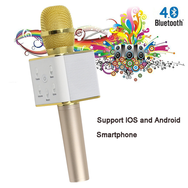 Q7 Wireless mini Microphone Karaoke player Party home KTV Singing Record Bluetooth Speaker For IOS Android Smartphone PK bm 800