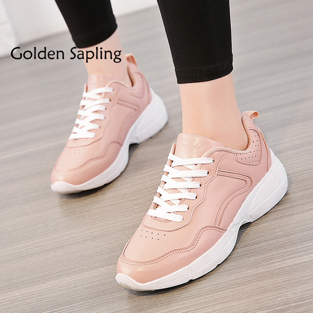 Golden Sapling Top Women's Sneakers New Women Tennis Shoes Breathable Leather Pink Top Rubber Woman Sneakers Women's Sport Shoes