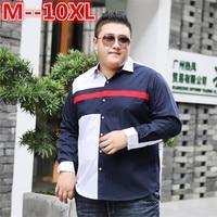 10XL 8XL 6XL 5XL Men S Classic Striped Shirt Long Sleeve Dress Shirt Men Business Formal