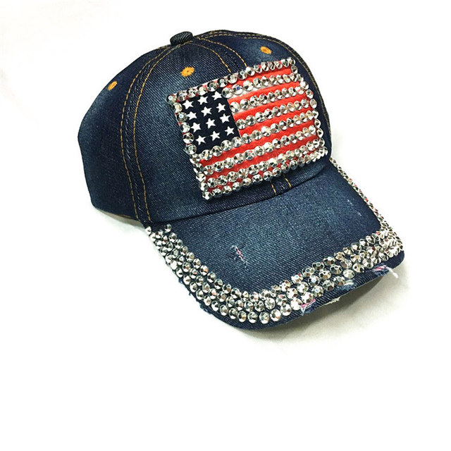 6db1972c990 Online Shop High Quality Baseball Cap Women Men Jean USA Flag ...
