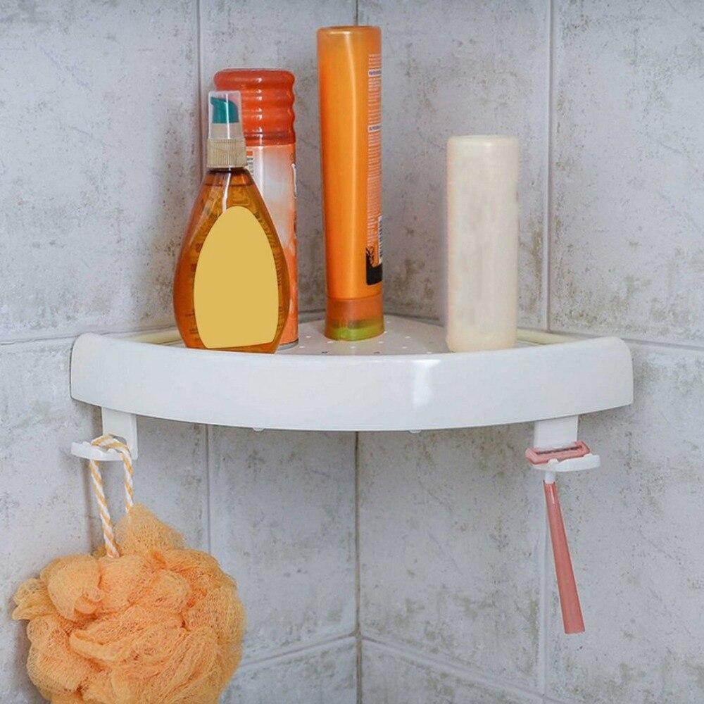 Nuevo estante de esquina triángulo de pared de baño soporte de almacenamiento estante sin marcar con ganchos fácil de instalar