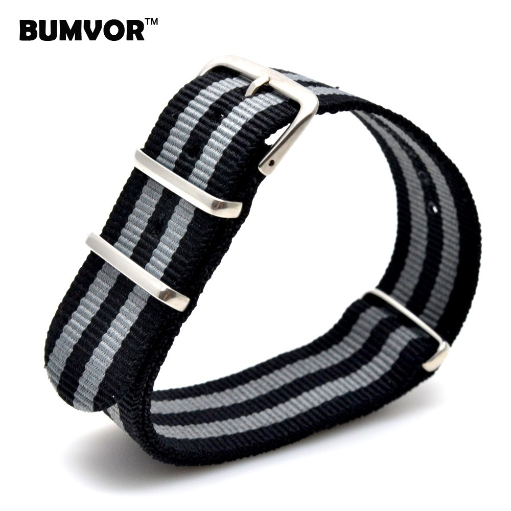 18 20 22 24 mm Black/Grey Striped Nato Strap for Army Sport Watch Nylon Watchband Strap On For Hours For James Bond Watch 22mm grey black orange striped nato g10 nylon strap for men wristwatch watchband