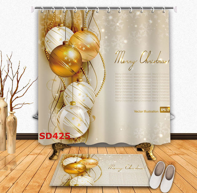 White Gold Christmas Ornament Balls Ribbon Five Pointed Star Shower Curtain