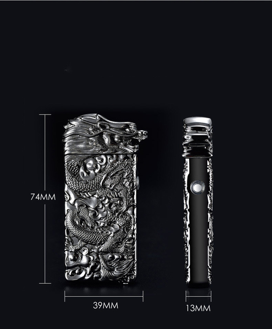 Chinese  Dragon Relief Double Arc Usb Lighter Plasma Windproof Electric Lighter Punk Style Metal Flameless Cigarette Lighter