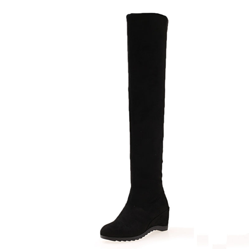 In 2017, the new hot sales knee-high boots round head high elastic wedge high black boots qiu dong female boots size 35-40 han edition spot qiu dong the day han2 ban3 girl gradient fashionable joker knitting wool hat