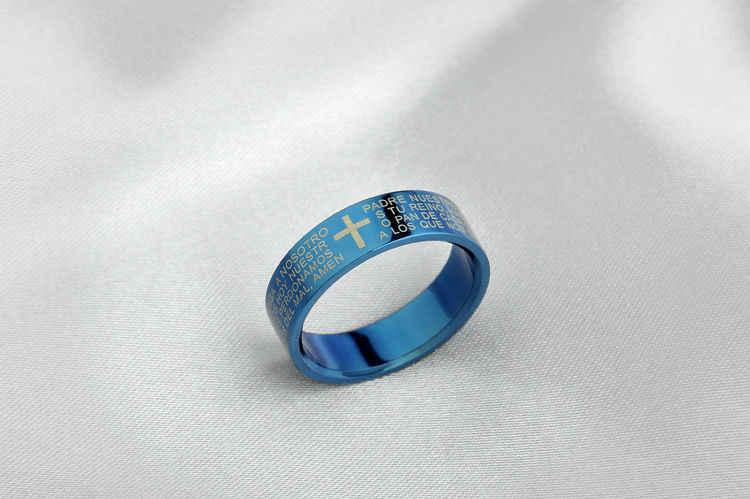Anillo cruzado bíblico clásico 316L titanio acero joyería Cool padre Fr. anillos de dedo azul mujeres hombres tres colores