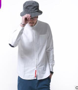 Original oxford-gesponnen hemd mann herbst multi-farbe collage ellenbogen trend lange hülse shirt mann GZ-228