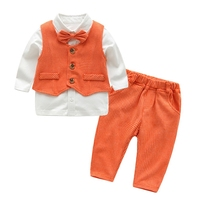 newborn boys orange suit set 3 pieces baby clothing set vest + t shirt +pants children formal costume babies birthday gift plaid