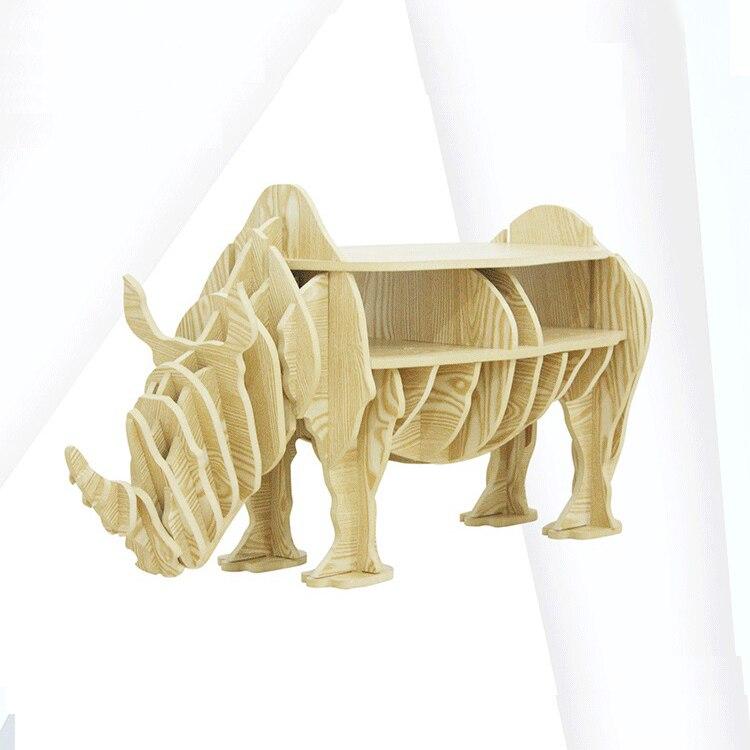 1 ensemble 47*19 pouces MDF bricolage assembler en bois rhinocéros Table bibliothèque armoire maison meubles - 3