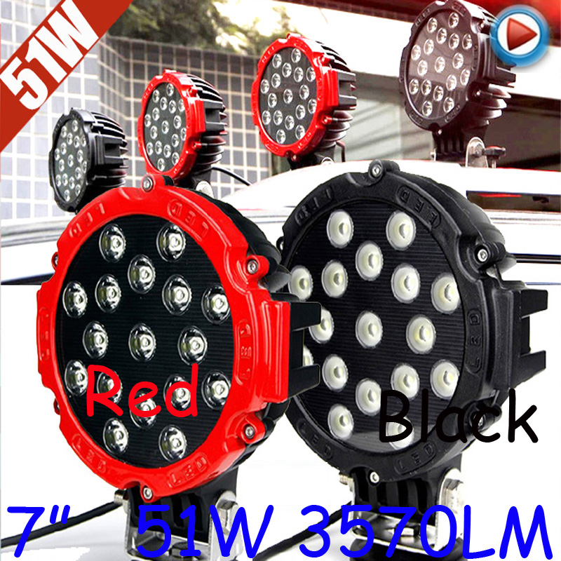 Free DHL/UPS Ship,7 51W 3570LM 10~30V,6500K,LED working light;Free ship!Optional wire;motorcycle light,forklift,tractor light only 48usd pcs 5 5 27w 2400lm 10 30v 6500k led working light free ship optional wire motorcycle light forklift tractor light
