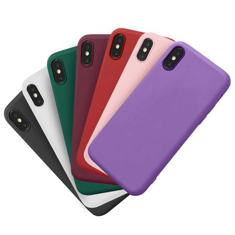 لينة سيليكون كاندي حالة اللون ل فون XS ماكس XR X 10 8 7 6 5 S 5 S 5SE 2020 7 زائد 8 زائد الهاتف الخليوي الغطاء الخلفي ماتي الوردي النبيذ