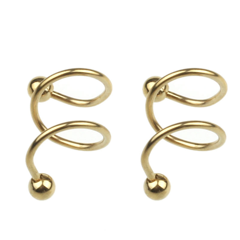 2017 Hot Stainless Steel S Spiral Helix Punk Ear Stud Lip Nose Ring Cartilage Piercing for Women Body Jewelry Wholesale