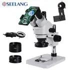 HD stéréo trinoculaire Smartphone Microscope zoom 3.5 90X soudure PCB téléphone réparation industrielle en aluminium soudure LED anneau lumière