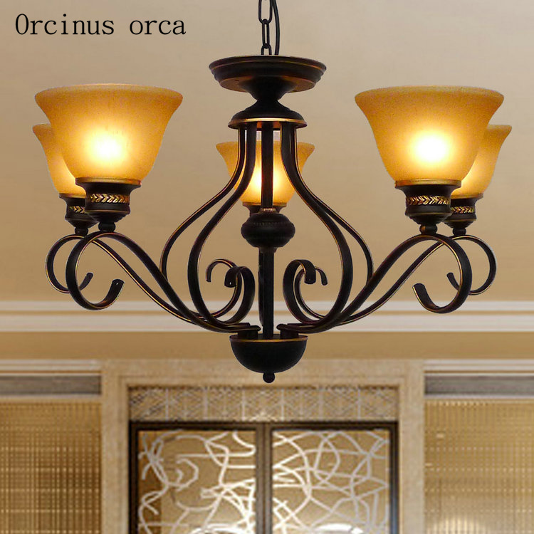 American Antique Iron Chandelier living room bedroom lamp European classical design simple glass chandelier   free shipping|Pendant Lights| |  - title=