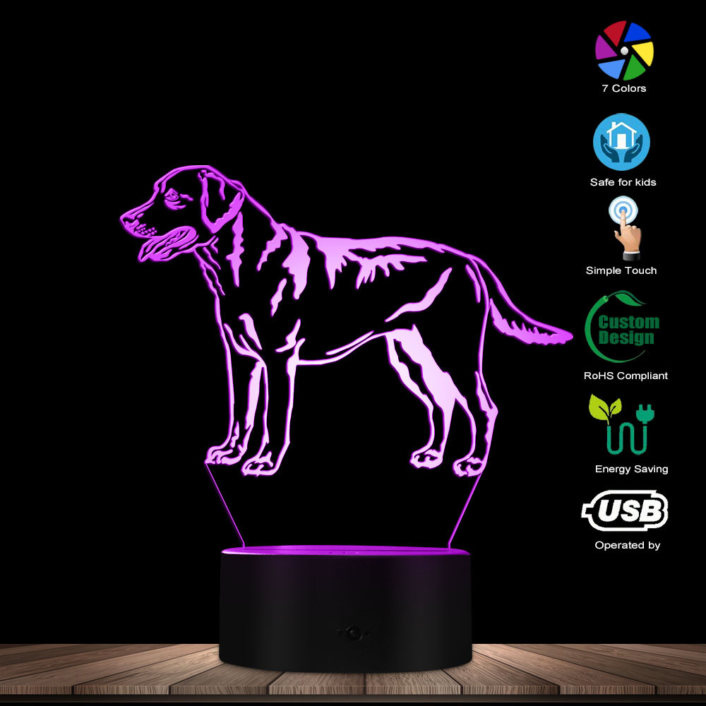 3D Labrador Retriever Dog LED Night Light Custom Name Pet Desk Lamp Decorative Lighting Puppy Sleepy Table Light Dog Lover Gift