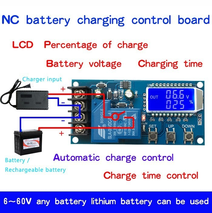 30A LCD Display Lithium Battery Charging Control Board Switch Protection Module