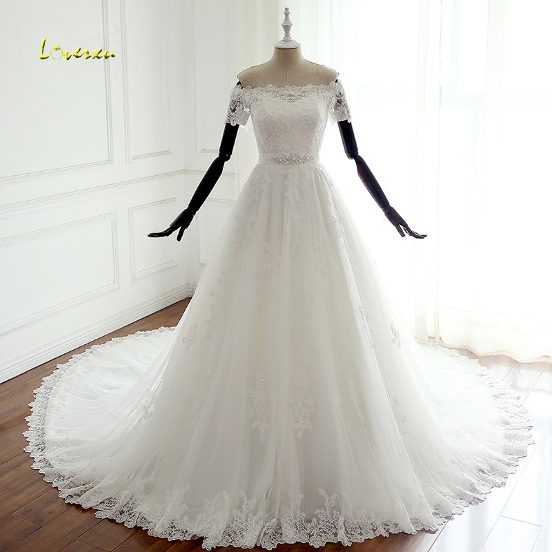 Loverxu Robe De Mariee Boat Neck Short Sleeve Wedding Dresses 2019 Sexy Appliques Beaded Vintage A Line Bridal Gown Plus Size-in Wedding Dresses from Weddings & Events    1