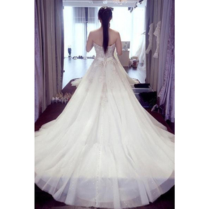 Image 3 - Sweetheart Wedding Dresses Sleeveless Applique Open Back Lace Up A Line Floor Length Sweep Train Bridal Dress Vestido De Noiva