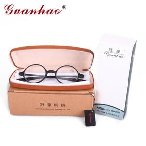 Image 5 - Guanhao marca moda retro óculos de leitura das mulheres dos homens ultraleve sem aro óculos de leitura hd resina computador acessórios