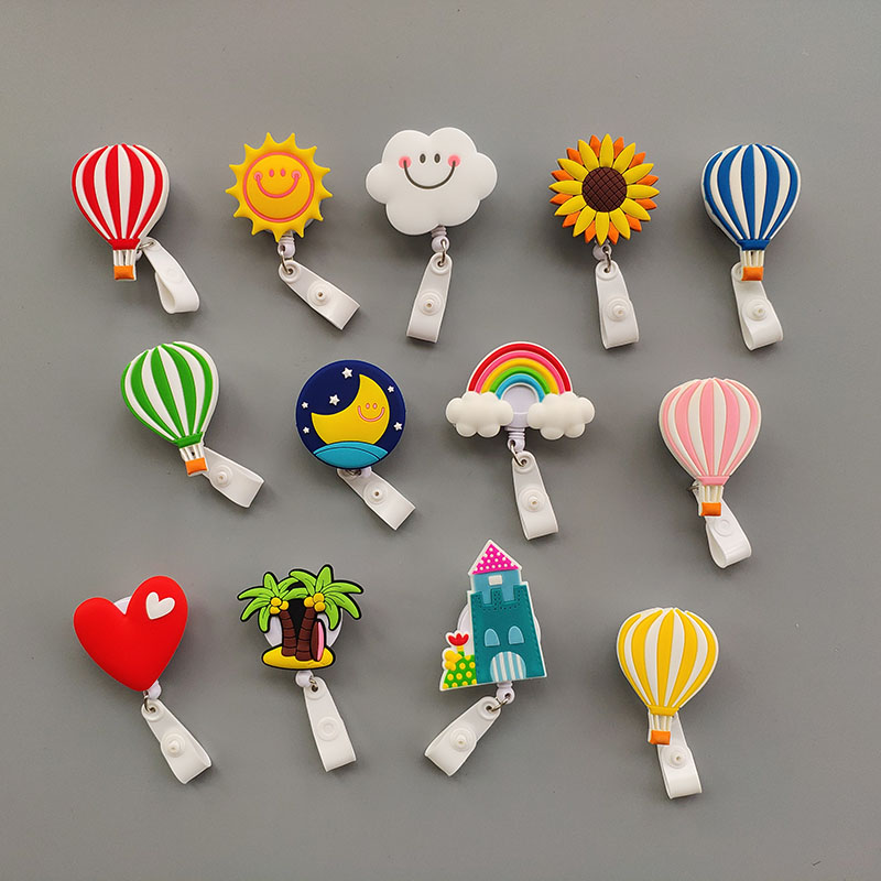 13 Pcs/lot Silicagel Balloon Nursing Retractable Badge Holder Reels Cloud Nurse Work Id Card Holder Office Supplies
