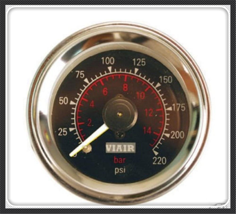 VIAIR Double pointer air gauge DUAL needles 0 220PSI Black face barometer pneumatic suspension air ride