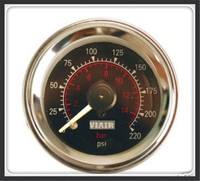 VIAIR Double Pointer Air Gauge DUAL Needles 0 220PSI Black Face Barometer Pneumatic Suspension Air Ride