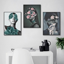 Fashion Fresh Plant Pink Flowers Girl Canvas Painting Nordic Posters and Prints Modern Home Decoration Bedroom Wall Art Pictures