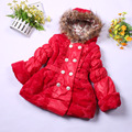 new design winter baby girls double-breasted jacket fashion children's long sleeve hooded wool outwear high quality kids coat