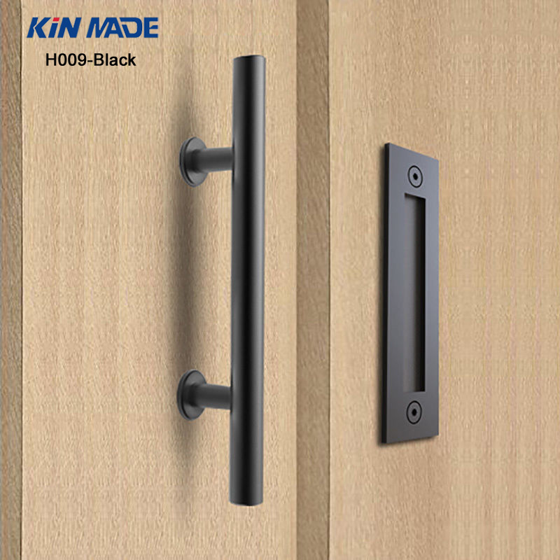 цена на KIN MADE Black stainless steel Sliding Barn Door Handle Wood Door Flush Pull