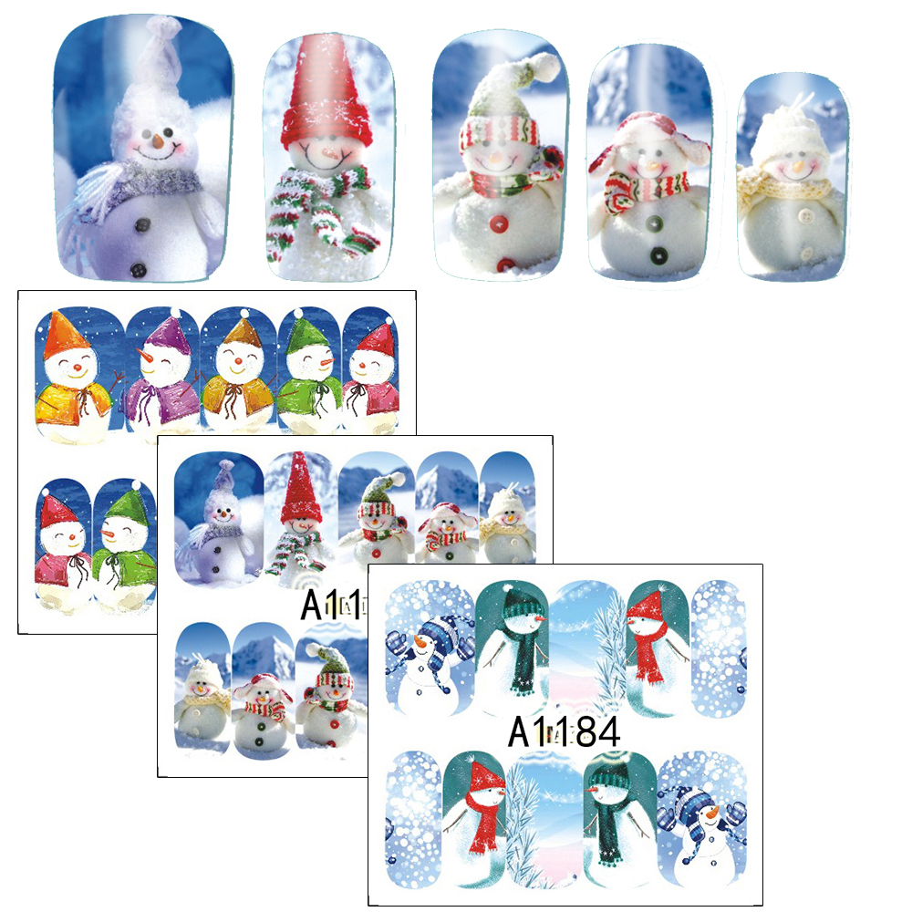 1pcs 2017 Xmas Design Nail Stickers Snow Man Water Transfer Nail Art Foils Manicure Wrap Finger Nail Decal New Year SAA1177-1188 1 sheet beautiful nail water transfer stickers flower art decal decoration manicure tip design diy nail art accessories xf1408